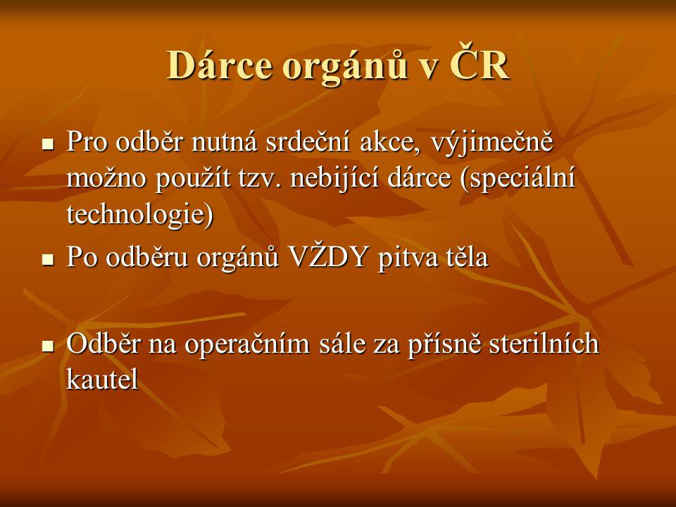 Dárce orgánů v ČR Pro odběr nutná srdeční akce, výjimečně možno použít tzv. nebijící dárce (speciální technologie)