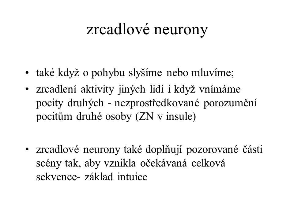 zrcadlové neurony také když o pohybu slyšíme nebo mluvíme;