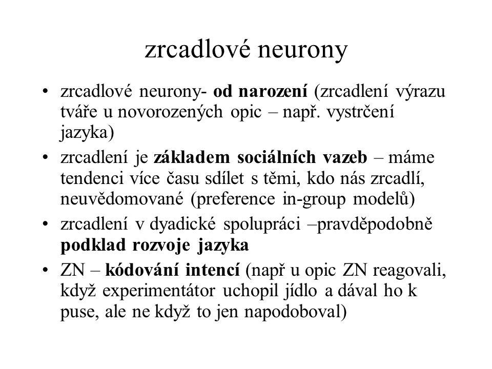 zrcadlové neurony zrcadlové neurony- od narození (zrcadlení výrazu tváře u novorozených opic – např. vystrčení jazyka)