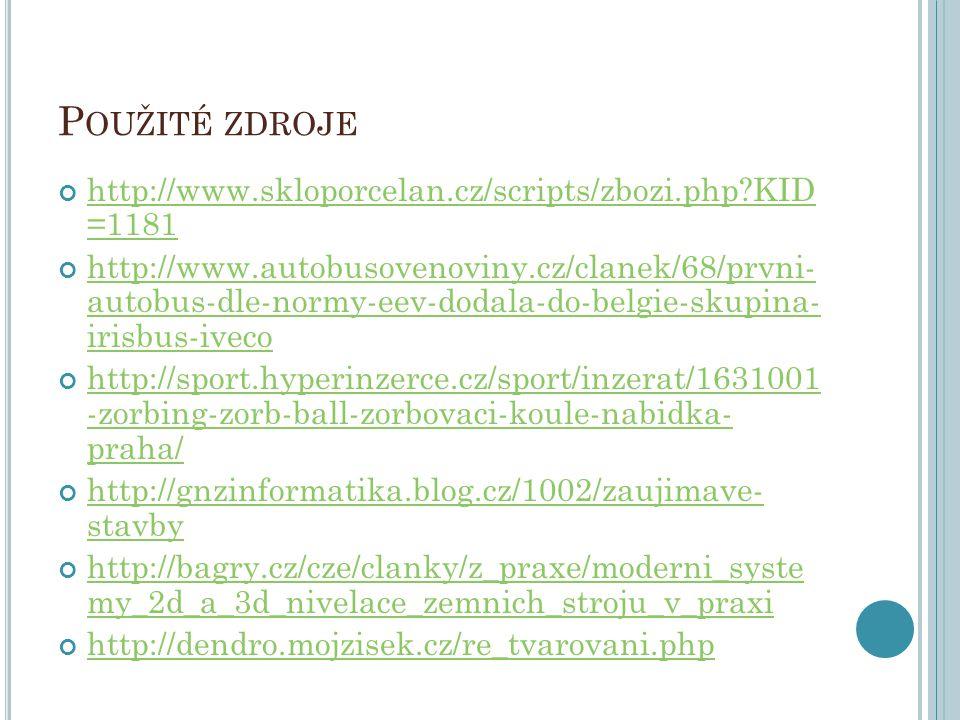 Použité zdroje http://www.skloporcelan.cz/scripts/zbozi.php KID =1181