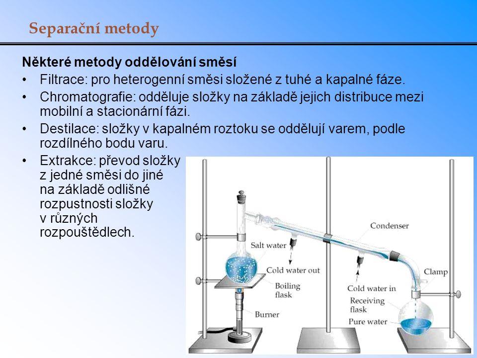 Separační metody Některé metody oddělování směsí