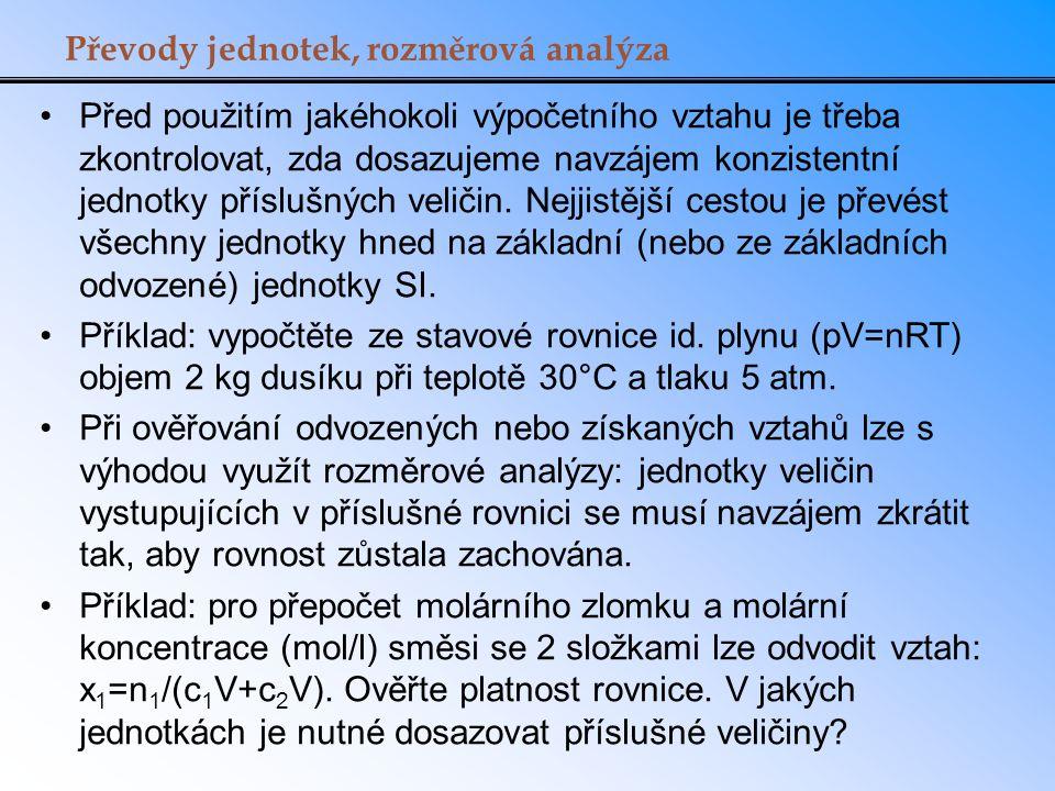 Převody jednotek, rozměrová analýza
