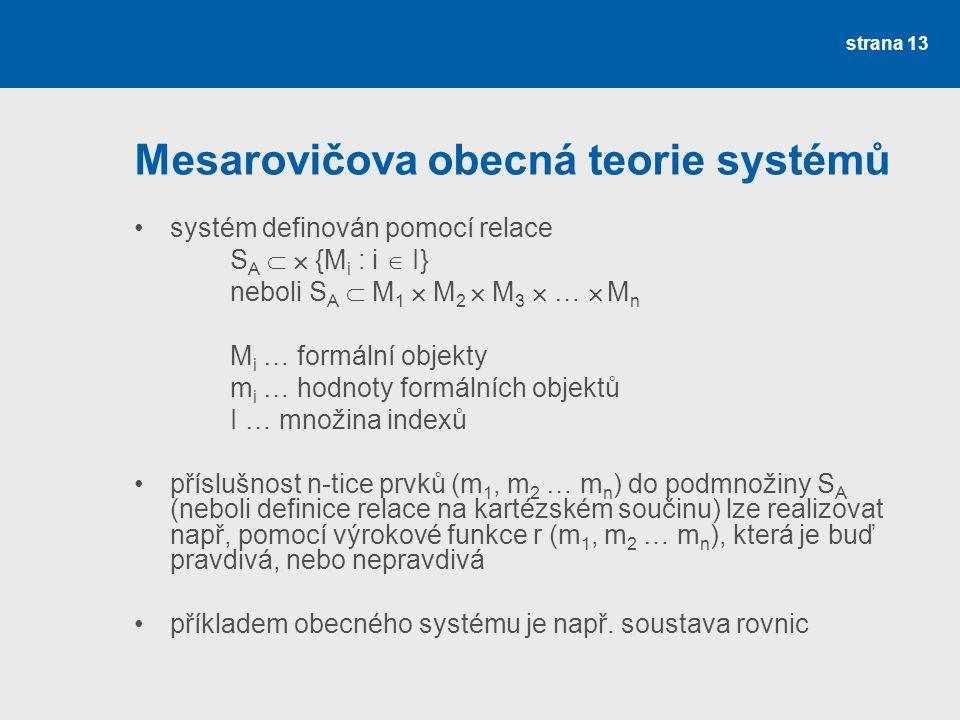 Mesarovičova obecná teorie systémů