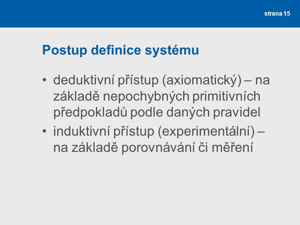 Postup definice systému