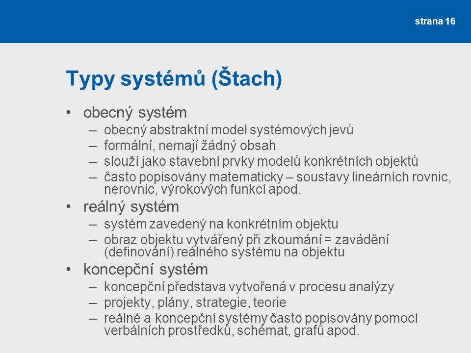 Typy systémů (Štach) obecný systém reálný systém koncepční systém