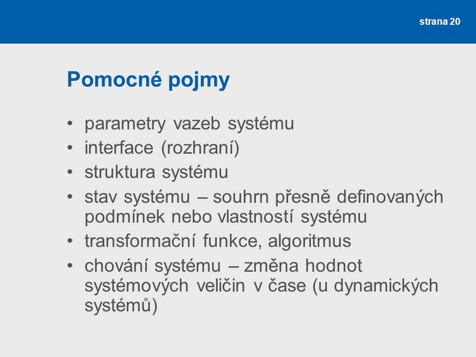 Pomocné pojmy parametry vazeb systému interface (rozhraní)