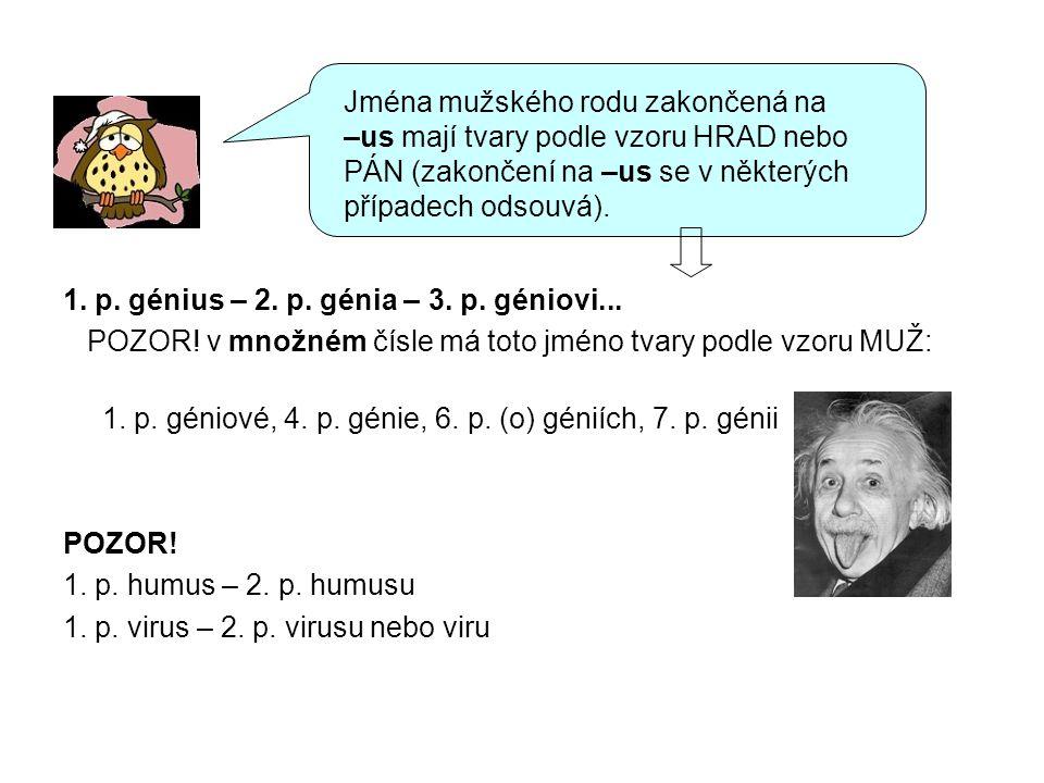 Jména mužského rodu zakončená na –us mají tvary podle vzoru HRAD nebo PÁN (zakončení na –us se v některých případech odsouvá).