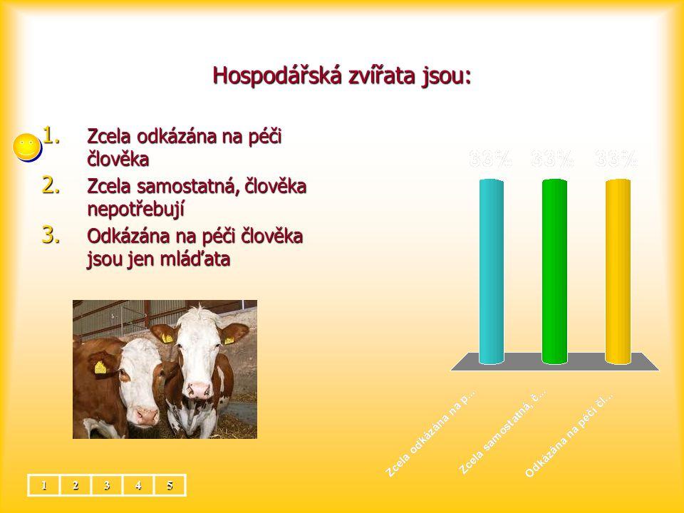 Hospodářská zvířata jsou: