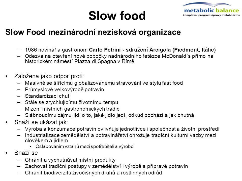Slow food Slow Food mezinárodní nezisková organizace