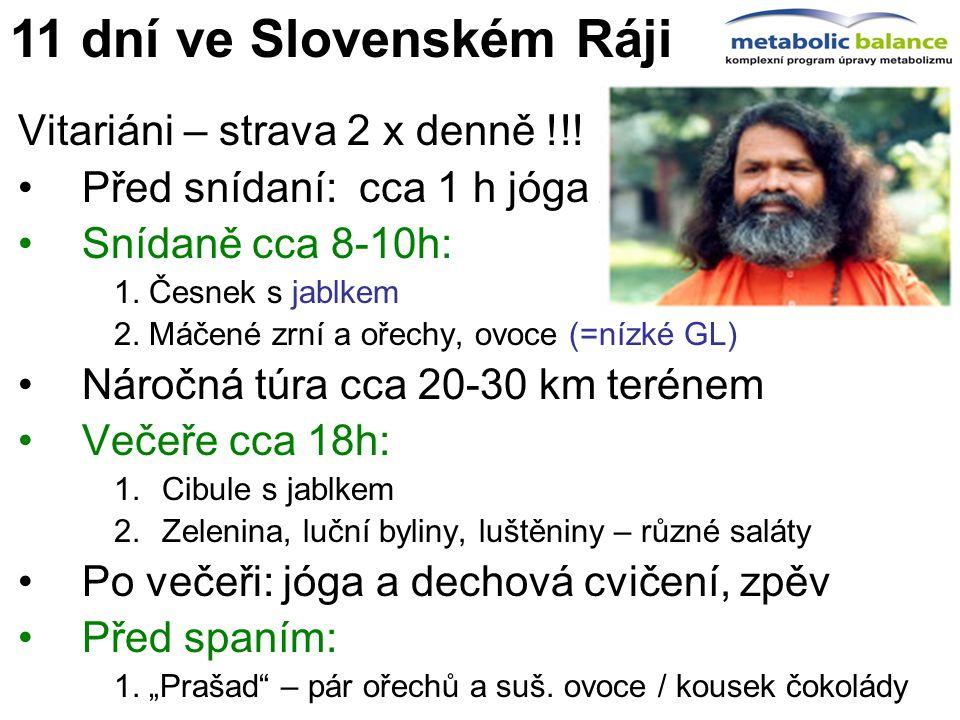 11 dní ve Slovenském Ráji Vitariáni – strava 2 x denně !!!