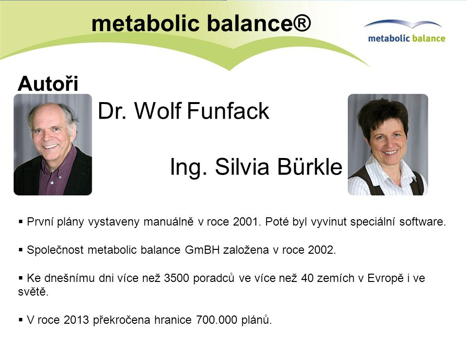 metabolic balance® Dr. Wolf Funfack Ing. Silvia Bürkle Autoři