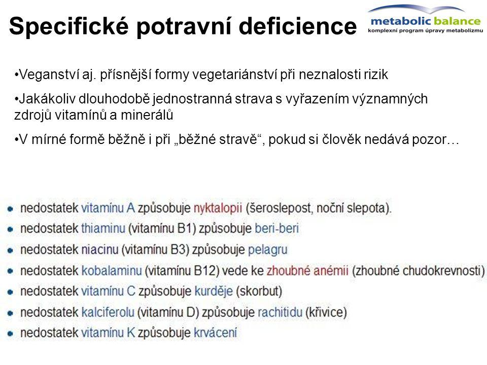 Specifické potravní deficience zacíleno na ty nejčastější