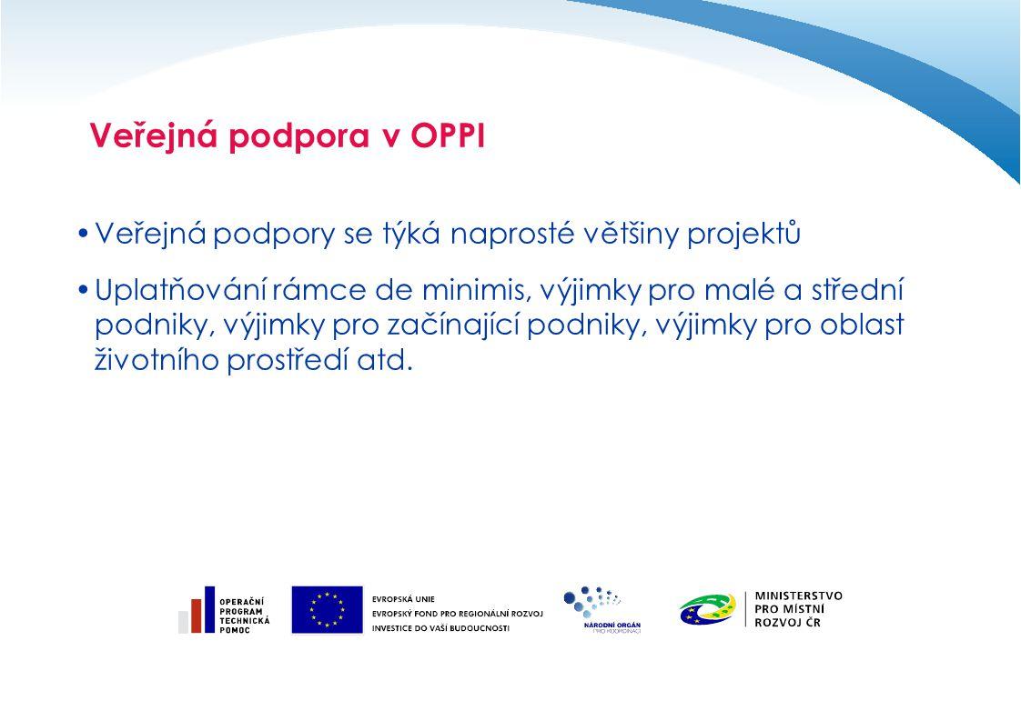 Veřejná podpora v OPPI Veřejná podpory se týká naprosté většiny projektů.