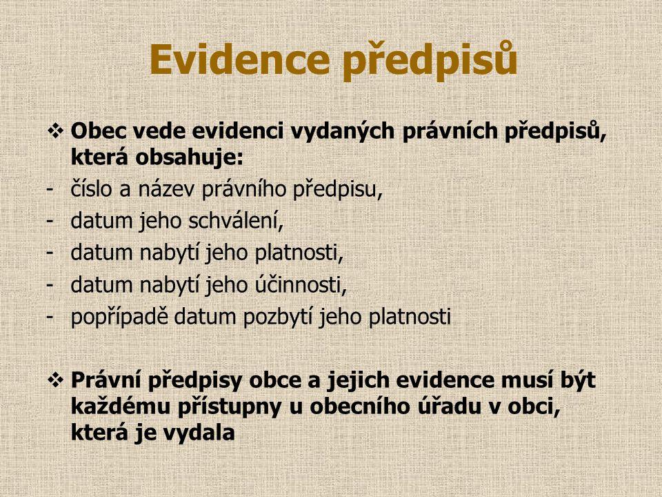 Evidence předpisů Obec vede evidenci vydaných právních předpisů, která obsahuje: číslo a název právního předpisu,