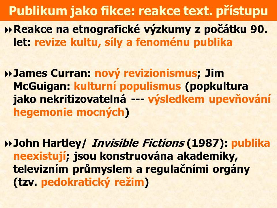 Publikum jako fikce: reakce text. přístupu
