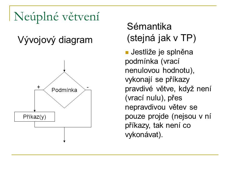 Neúplné větvení Sémantika (stejná jak v TP) Vývojový diagram