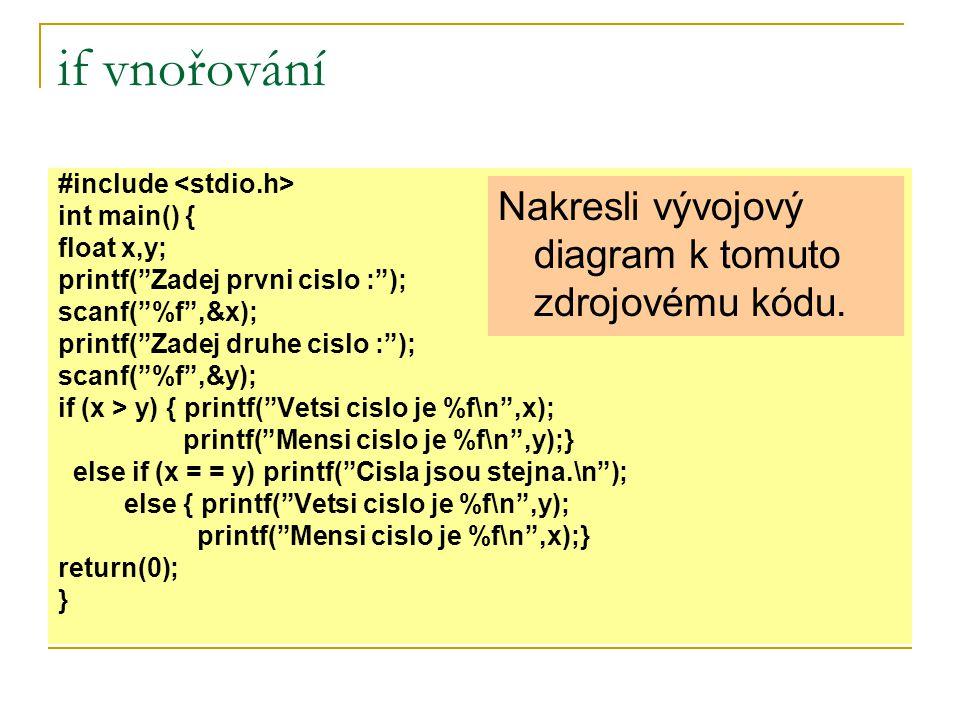 if vnořování Nakresli vývojový diagram k tomuto zdrojovému kódu.