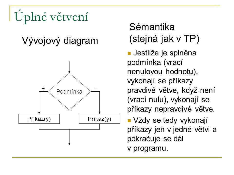 Úplné větvení Sémantika (stejná jak v TP) Vývojový diagram
