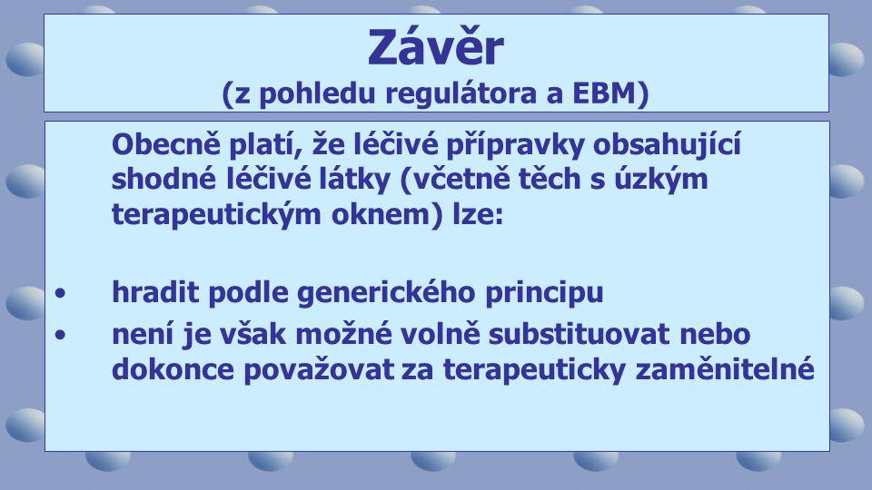 Závěr (z pohledu regulátora a EBM)