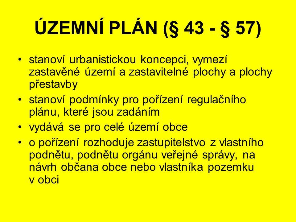 ÚZEMNÍ PLÁN (§ 43 - § 57) stanoví urbanistickou koncepci, vymezí zastavěné území a zastavitelné plochy a plochy přestavby.