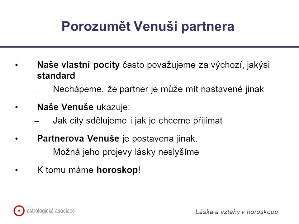 Porozumět Venuši partnera