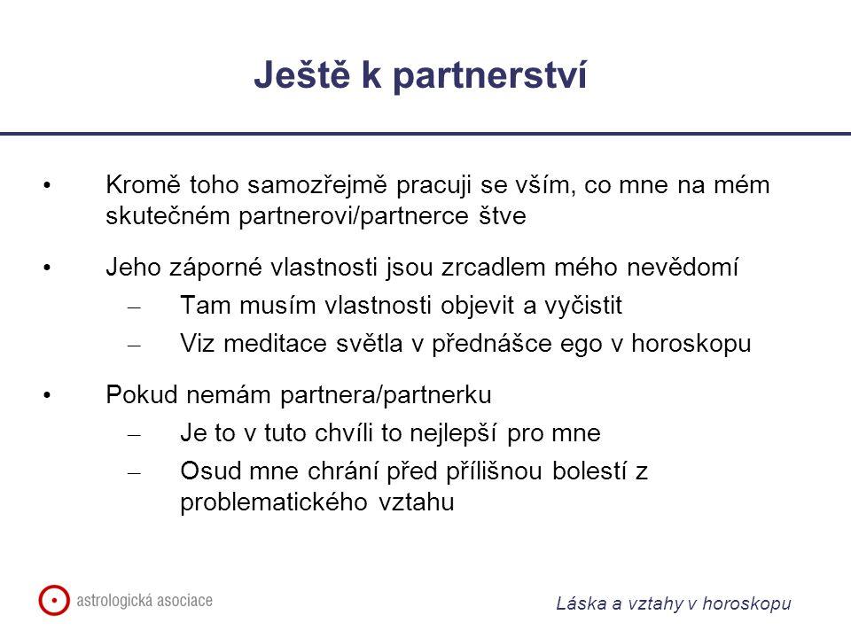 Ještě k partnerství Kromě toho samozřejmě pracuji se vším, co mne na mém skutečném partnerovi/partnerce štve.