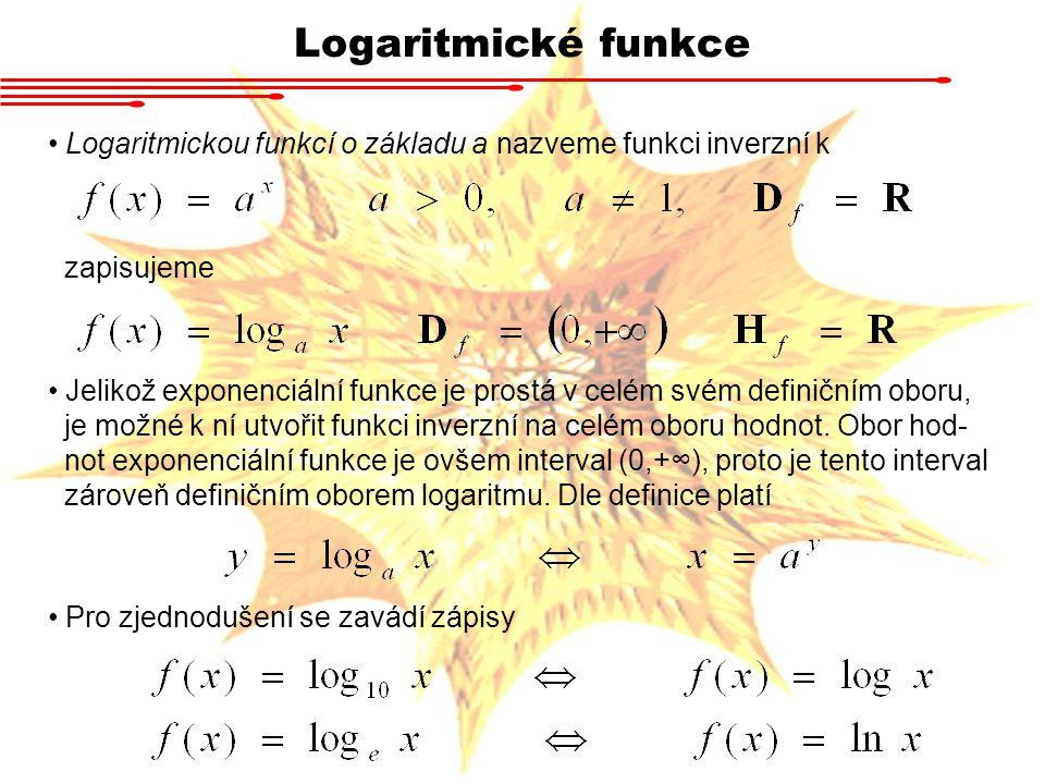 Logaritmické funkce Logaritmickou funkcí o základu a nazveme funkci inverzní k. zapisujeme.