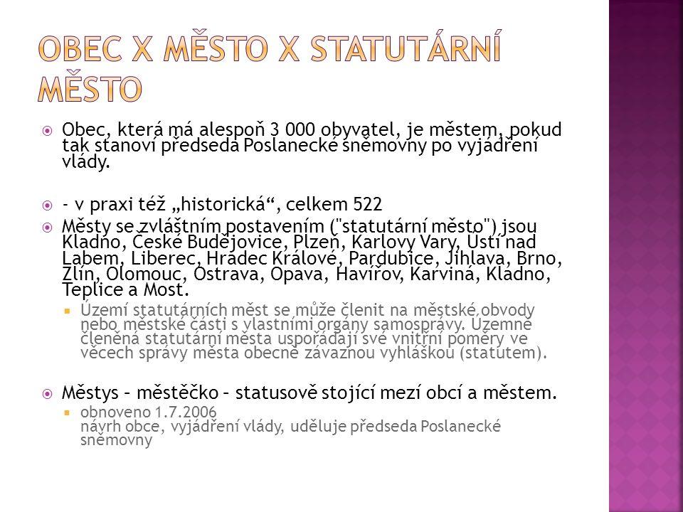 obec X město X statutární město
