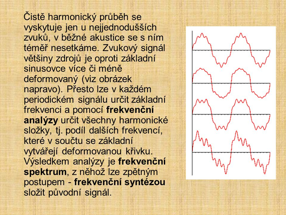 Čistě harmonický průběh se vyskytuje jen u nejjednodušších zvuků, v běžné akustice se s ním téměř nesetkáme.