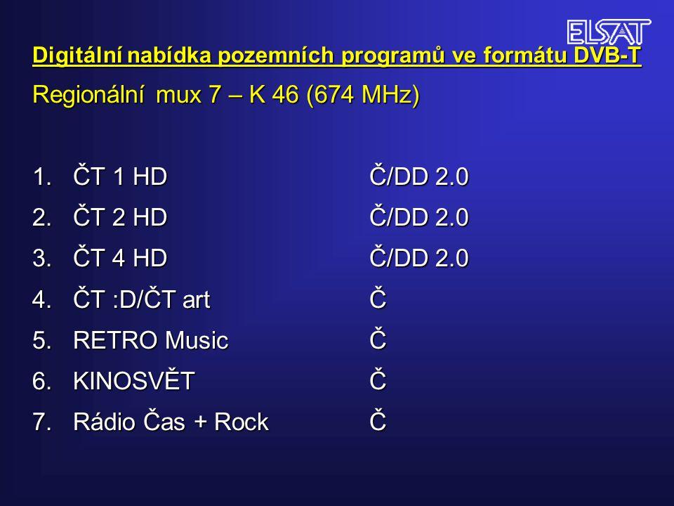 Digitální nabídka pozemních programů ve formátu DVB-T Regionální mux 7 – K 46 (674 MHz) 1.
