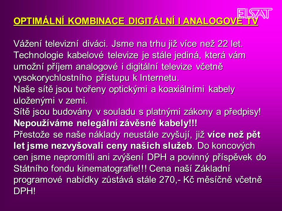 OPTIMÁLNÍ KOMBINACE DIGITÁLNÍ I ANALOGOVÉ TV Vážení televizní diváci