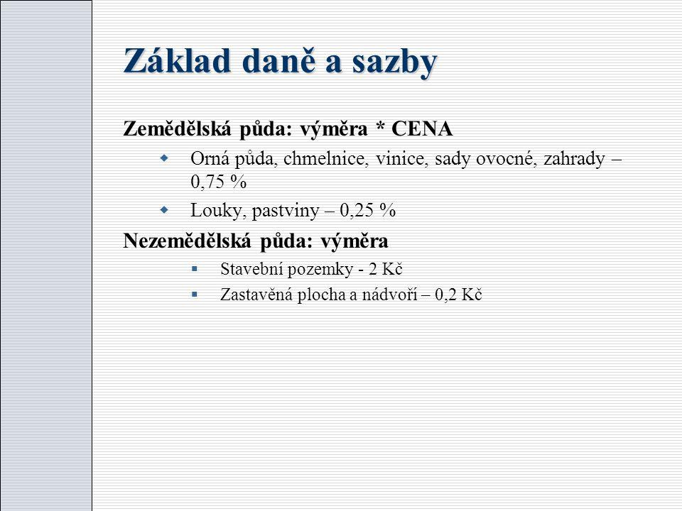 Základ daně a sazby Zemědělská půda: výměra * CENA