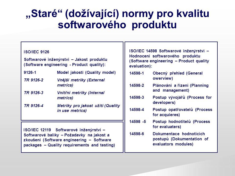 """""""Staré (dožívající) normy pro kvalitu softwarového produktu"""