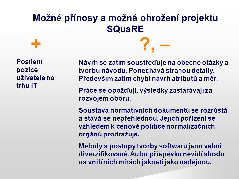 Možné přínosy a možná ohrožení projektu SQuaRE