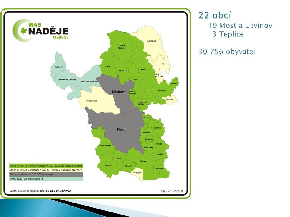 22 obcí 19 Most a Litvínov 3 Teplice 30 756 obyvatel