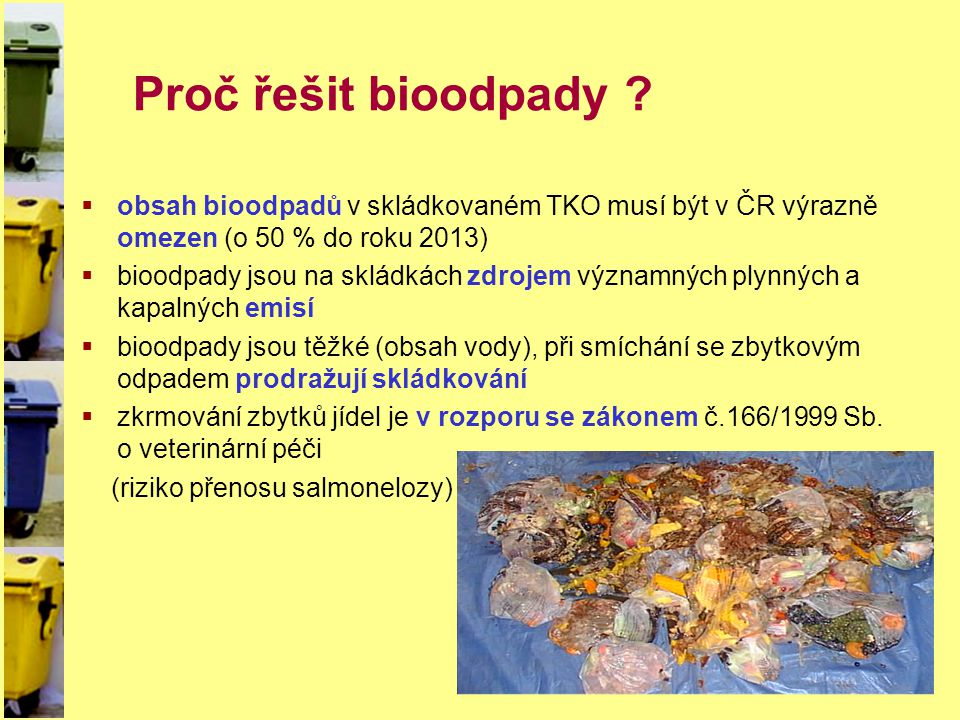 Proč řešit bioodpady obsah bioodpadů v skládkovaném TKO musí být v ČR výrazně omezen (o 50 % do roku 2013)