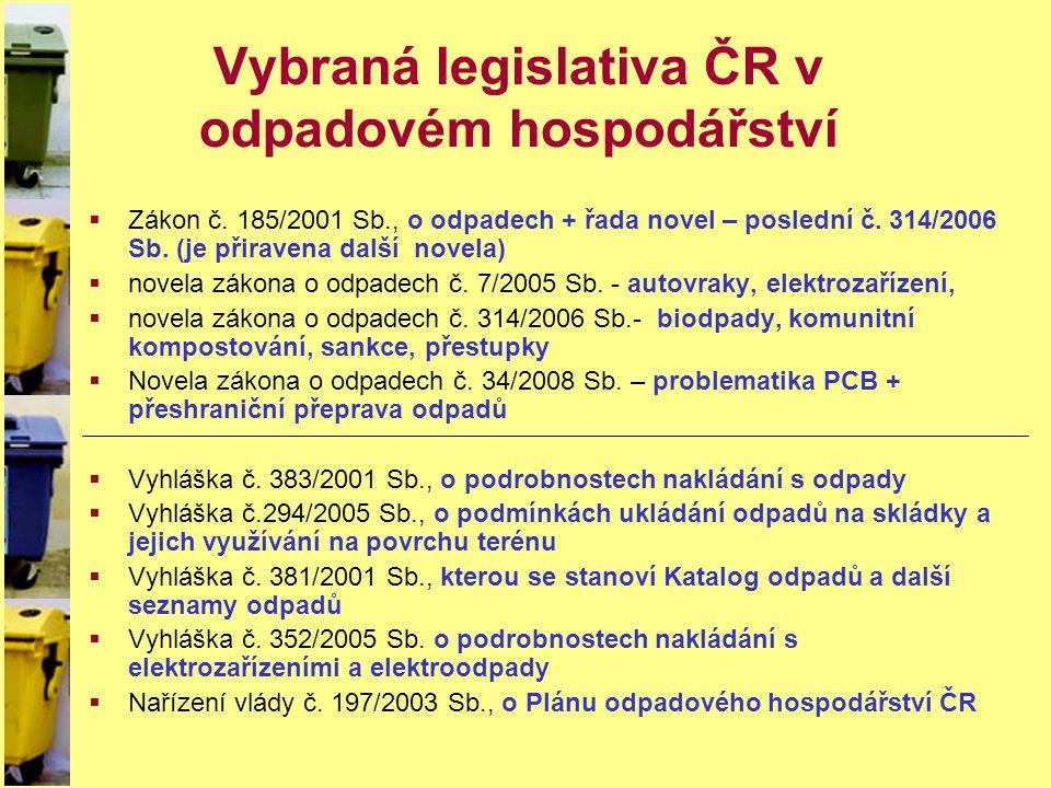 Vybraná legislativa ČR v odpadovém hospodářství