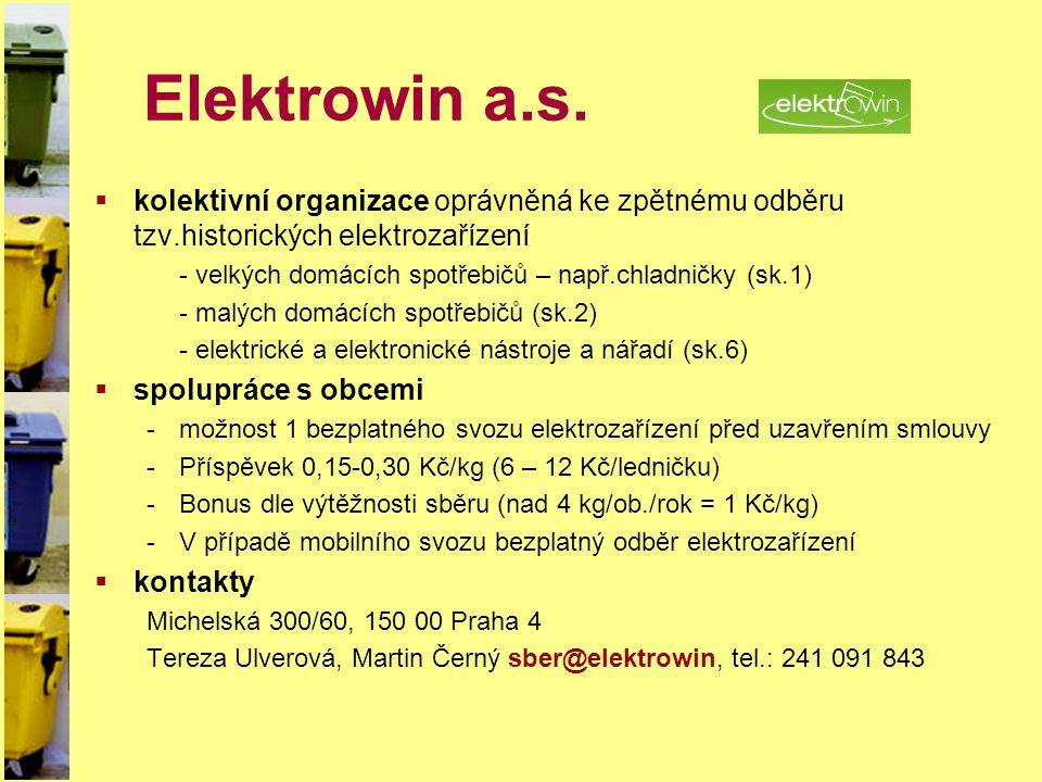 Elektrowin a.s. kolektivní organizace oprávněná ke zpětnému odběru tzv.historických elektrozařízení.