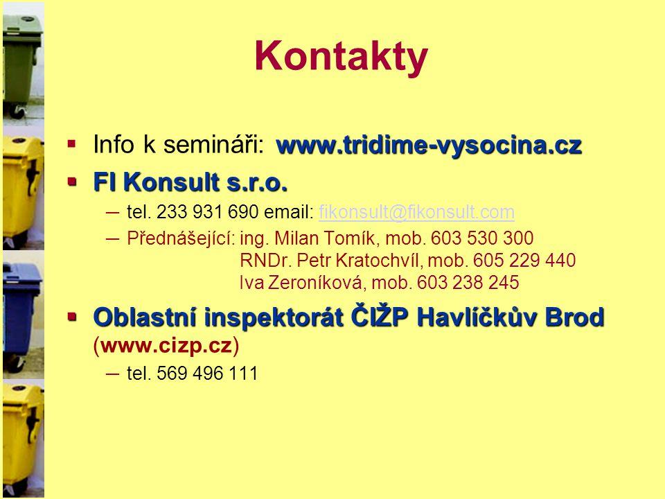 Kontakty Info k semináři: www.tridime-vysocina.cz FI Konsult s.r.o.