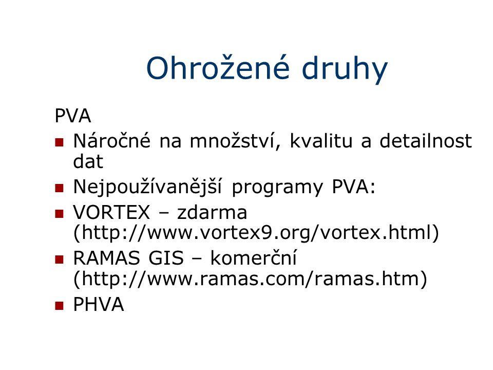 Ohrožené druhy PVA Náročné na množství, kvalitu a detailnost dat
