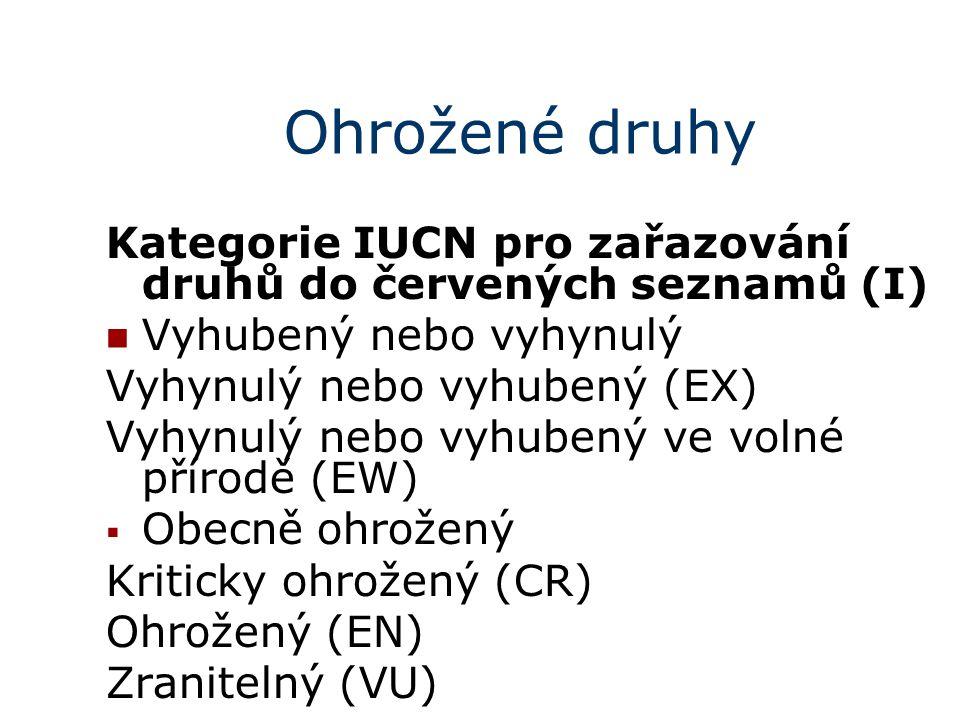 Ohrožené druhy Kategorie IUCN pro zařazování druhů do červených seznamů (I) Vyhubený nebo vyhynulý.