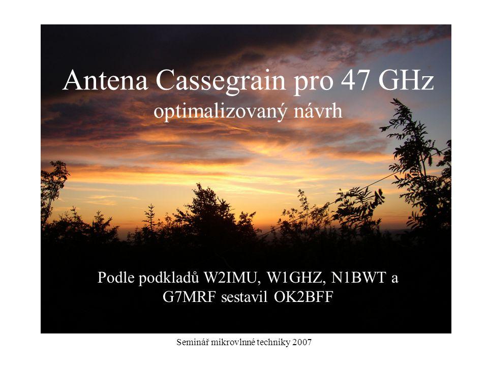 Antena Cassegrain pro 47 GHz optimalizovaný návrh
