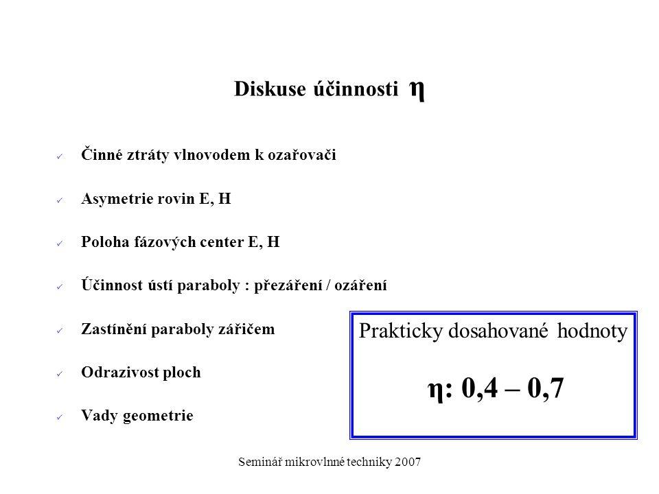 Prakticky dosahované hodnoty η: 0,4 – 0,7