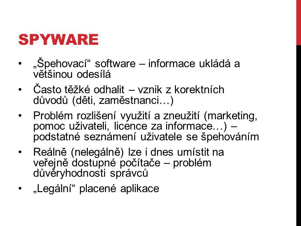 """Spyware """"Špehovací software – informace ukládá a většinou odesílá"""