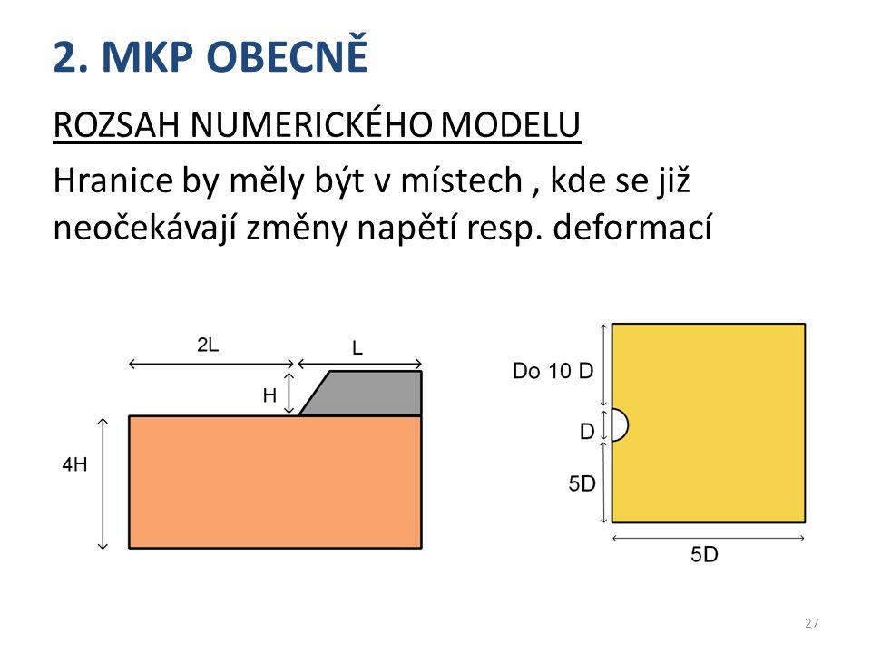 2. MKP OBECNĚ Rozsah numerického modelu Hranice by měly být v místech , kde se již neočekávají změny napětí resp. deformací