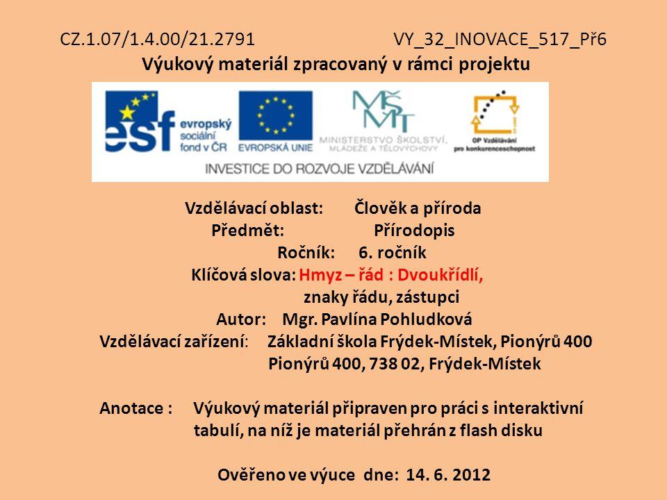 CZ.1.07/1.4.00/21.2791 VY_32_INOVACE_517_Př6 Výukový materiál zpracovaný v rámci projektu