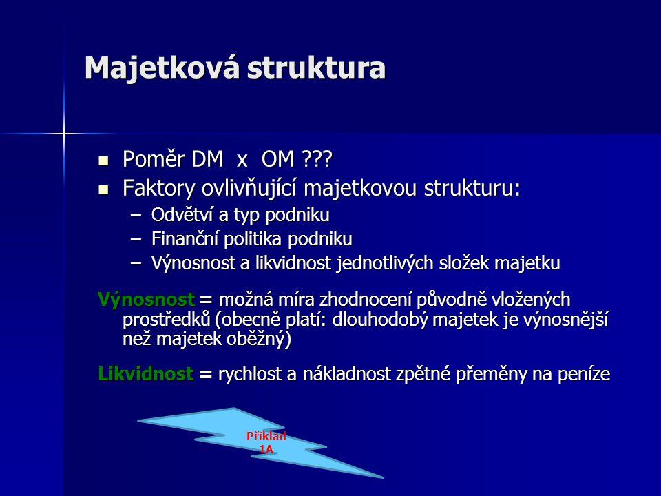 Majetková struktura Poměr DM x OM