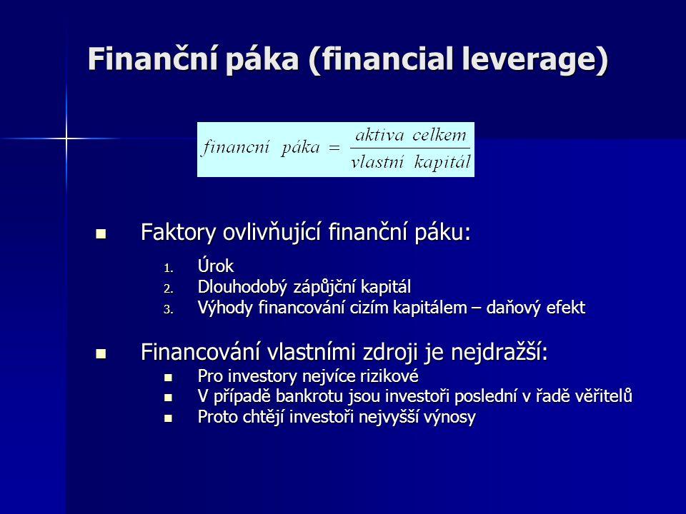 Finanční páka (financial leverage)