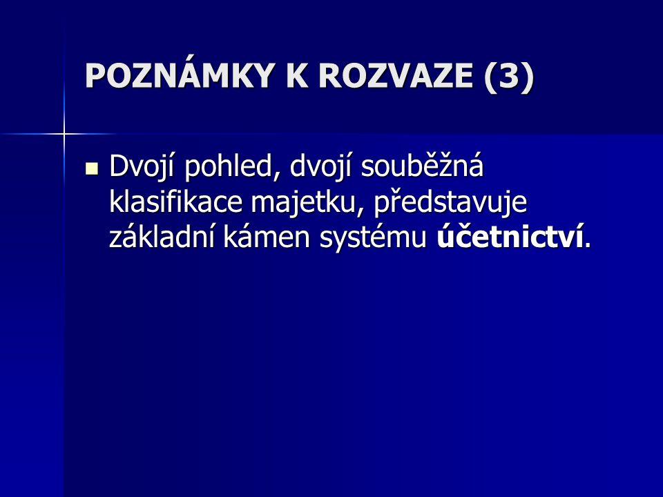 POZNÁMKY K ROZVAZE (3) Dvojí pohled, dvojí souběžná klasifikace majetku, představuje základní kámen systému účetnictví.