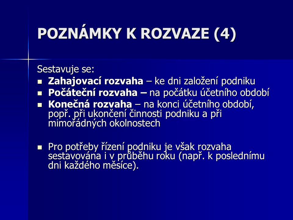 POZNÁMKY K ROZVAZE (4) Sestavuje se: